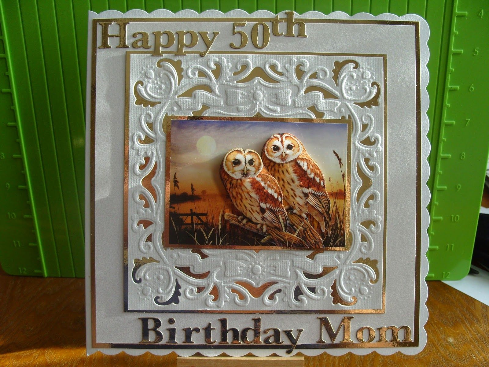 Lizzies craft space owl th birthday card beautiful cards
