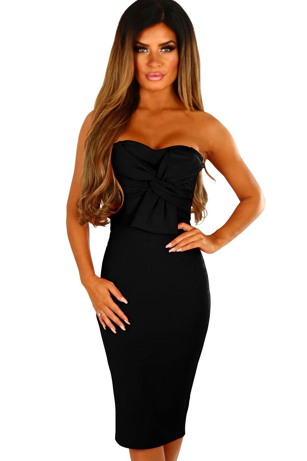 Black front twist knot strapless midi dress strapless