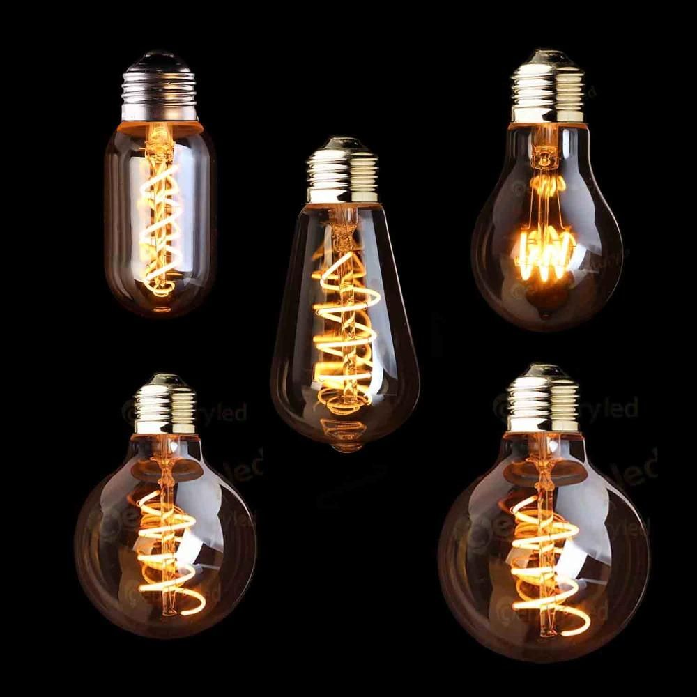 T45 A19 St64 G80 G95 G125 Spiral Light Led Filament Bulb 3w 2200k Retro Vintage Lamps Decorative Li Icon2 Luxury Designer Fixure Led Filament Led Decoration
