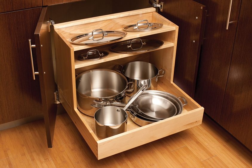 traditional kitchen style ideas single pull out cabinet storage pots pans organizer light brown on kitchen organization pots and pans id=63583