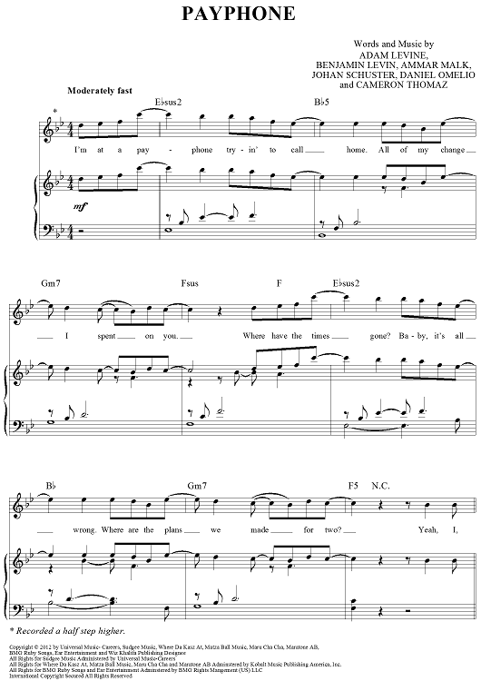 Payphone Sheet Music by Maroon 5 | Sheet music, Pianos and Piano sheet