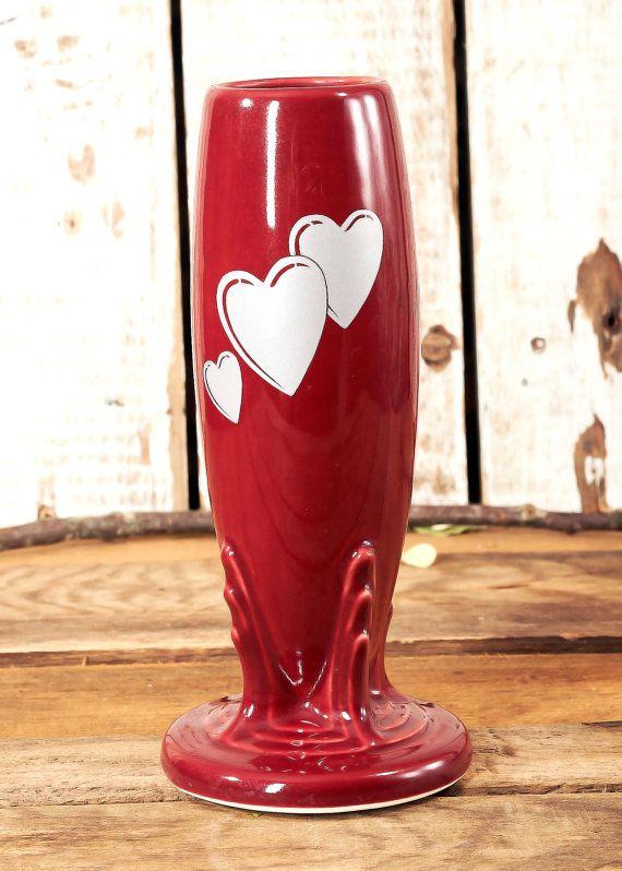 Homer Laughlin Chinafiesta Bud Vase Trio Of Hearts By