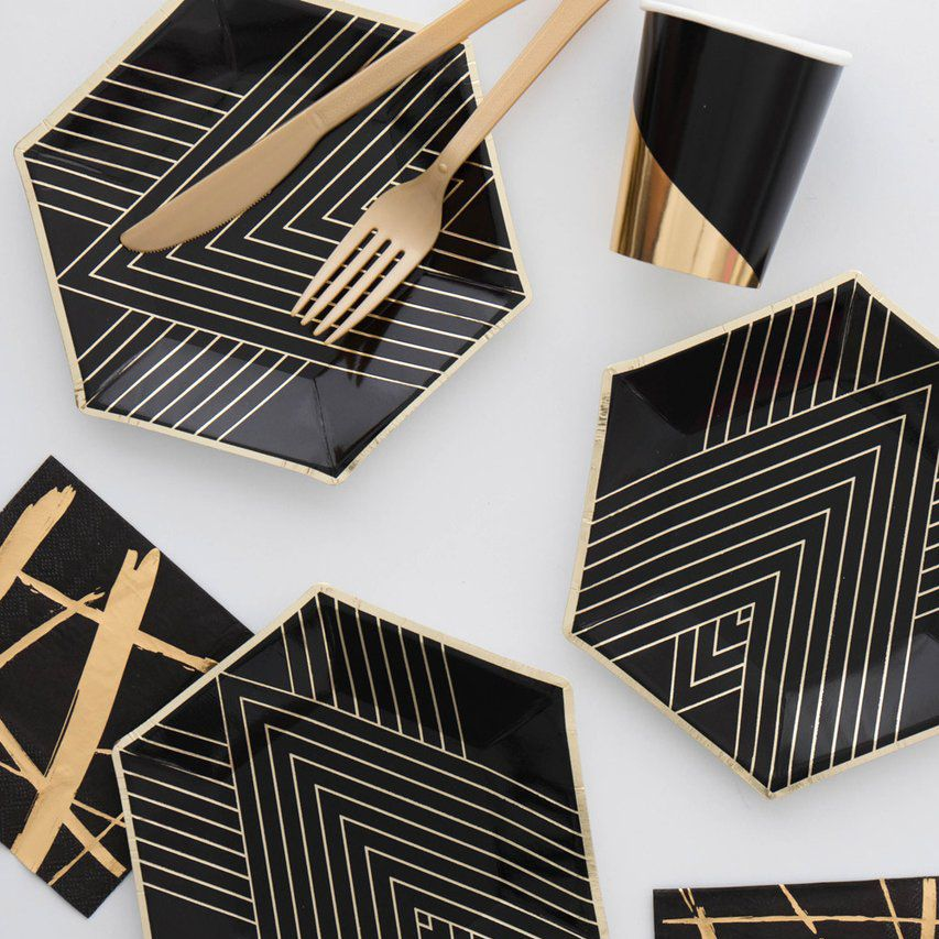 Geometric Birthday Party Decor Black And Gold Tableware
