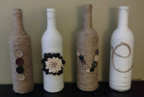 Wrapped Rustic Wine Bottles Decorated To Order They Make A Great Gift For Any Occasion Or For Your Home Bottles Decoration Rustic Vase Wine Bottle Decor