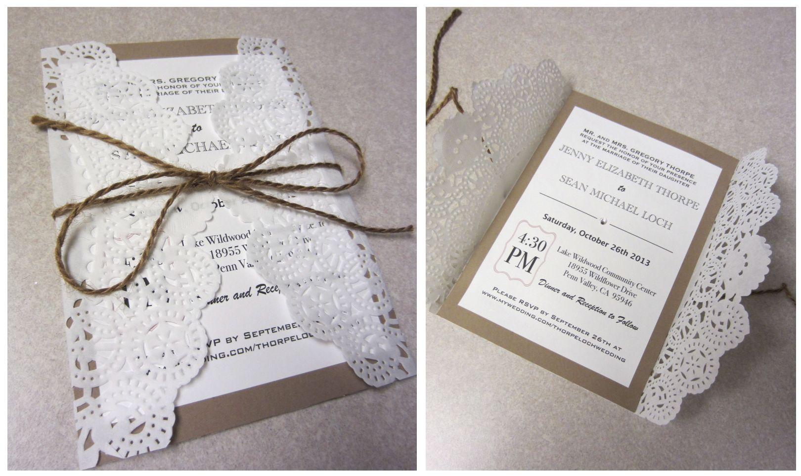 Handmade wedding invitations . Craft paper , doily , burlap rope tie ...
