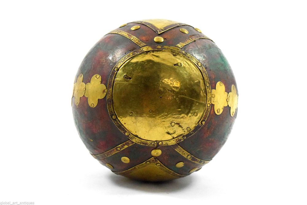 Vintage Hand Crafted Beautiful Brass Fit Big Massage Wooden Ball decor. G43-173