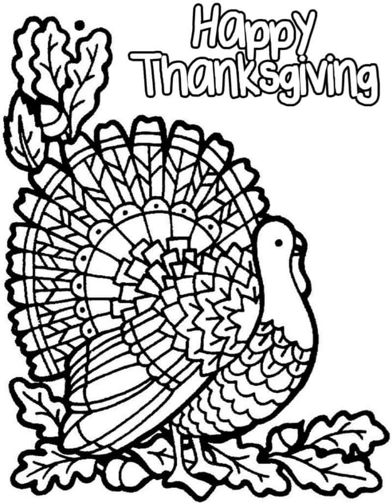 Printable Happy Thanksgiving Coloring Pages Free Download For Kids