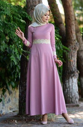 Sefamerve Dantel Detayli Elbise 2069 05 Gul Kurusu Elbise Cicekli Elbiseler The Dress