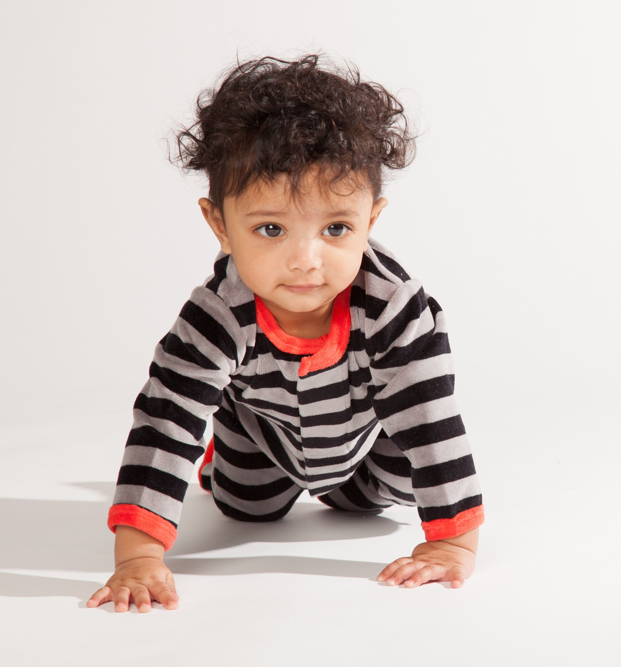 This Velour footie in Charcoal and Slate is comfy for crawling! Go to magnificentbaby.com to find this item on sale!