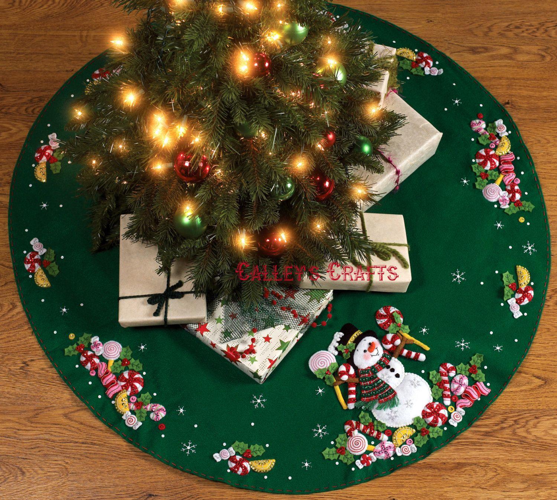 "Bucilla Candy Cane Snowman 43"" Felt Christmas Tree Skirt"