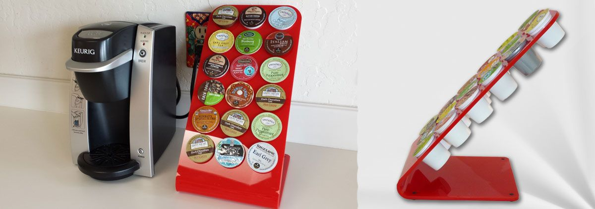 Bright red appliances? Red accents in your kitchen or office? A red Keurig on your counter? This K-cup stand is a brilliant match. Vibrant 6mm-thick acrylic offers a dramatic display for your collection of K-cups. Holds 18 individual servings beautifully.