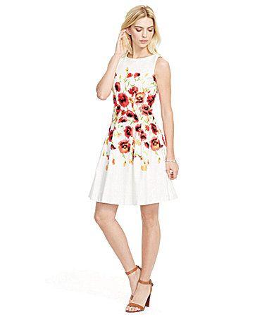 Lauren Ralph Lauren Floral Sateen FitandFlare Dress  Dillards  59cc028aeaa