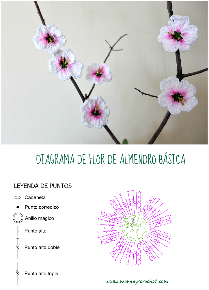 Flor de almendro de crochet / Crochet almond flowers | Flowers ...