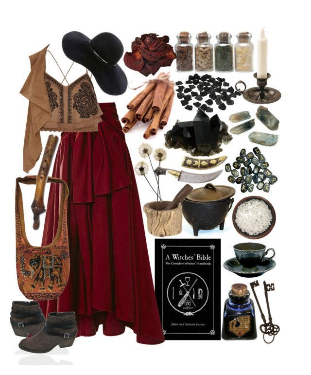 maroon and tan gypsy witch by beautyandstylefox ❤ liked on Polyvore featuring Rosie Assoulin, Clayton, River Island, Dorothy Perkins, Eugenia Kim, Jayson Home, gypsy, pagan and wicca #gothclothes