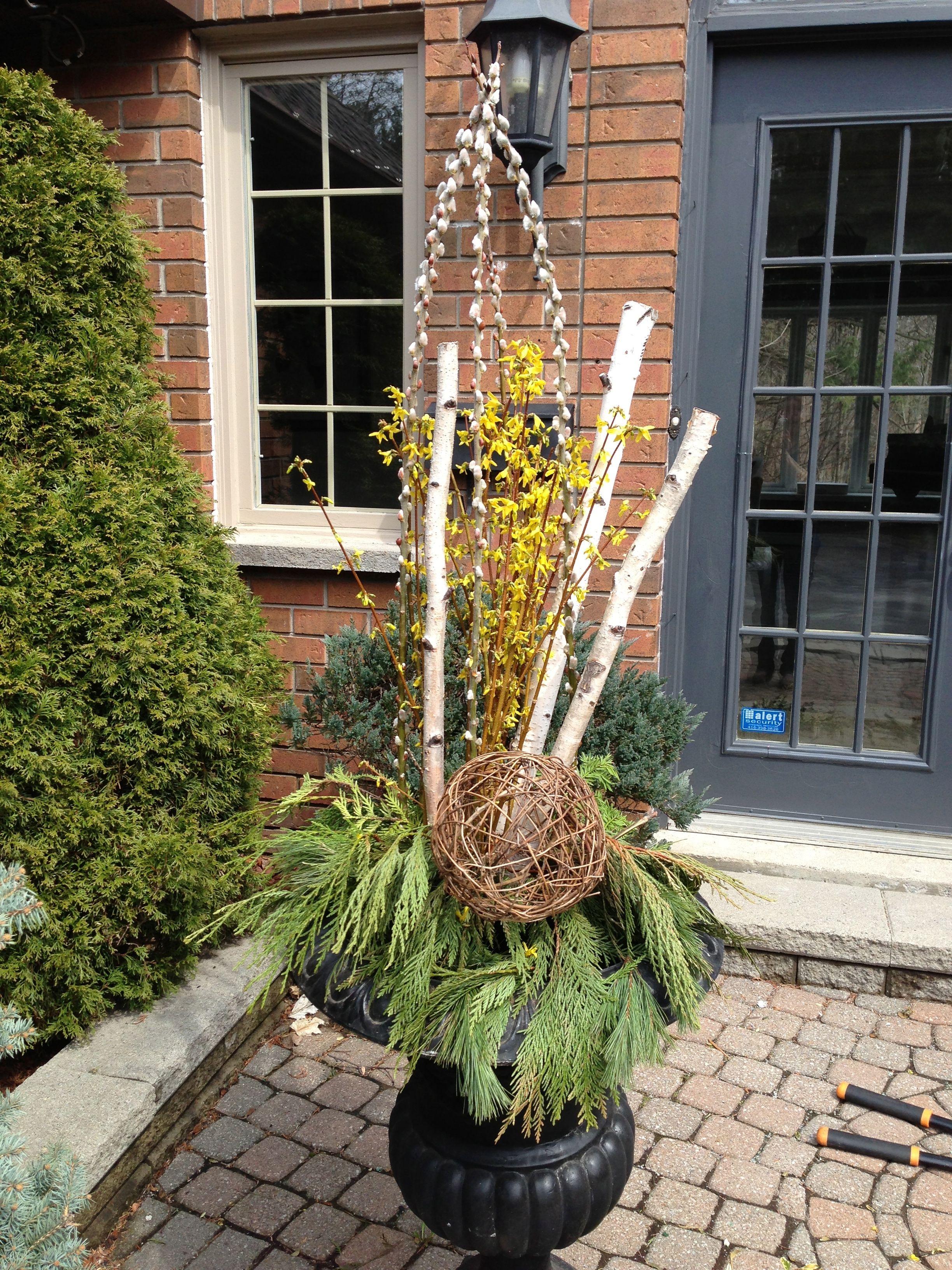 Spring Urn Urns Porch Winter Planter Garden