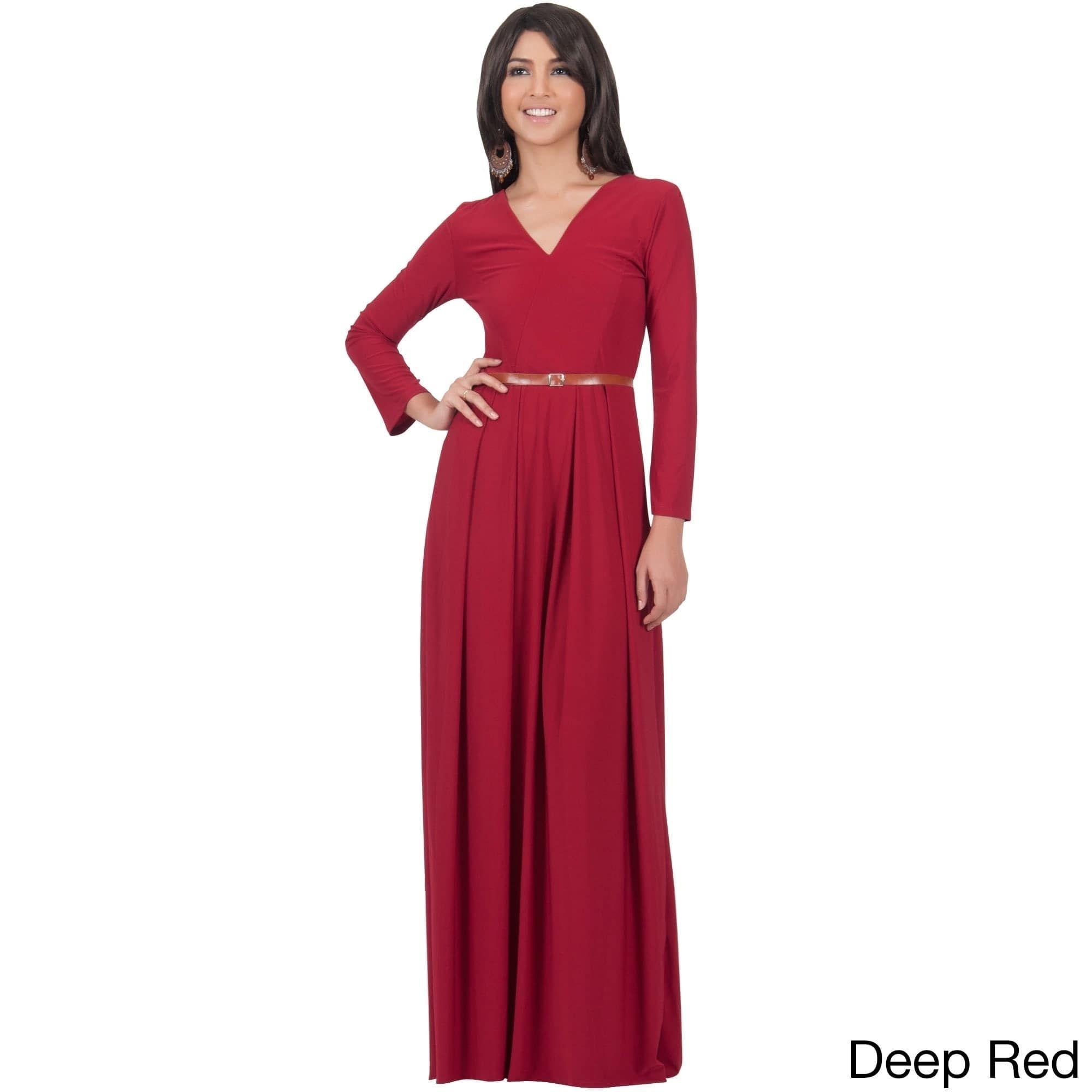 Global koh koh womens vneck long sleeve elegant evening formal maxi
