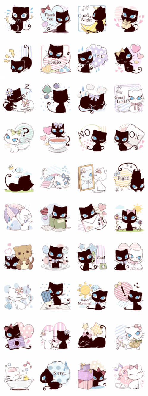Long Eyelashes And Big Eyes Are Super Admirable Cutie Stickers Of A White Cat And A Black Cat Are Now Availa Eye Black Stickers Cat Eyes Drawing Black Stickers