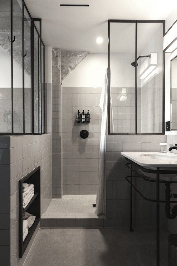 Black And White Bathroom, Black Metal Framed Glass Dividers, Ace Hotel LA |  Remodelista   Provided By Remodelista