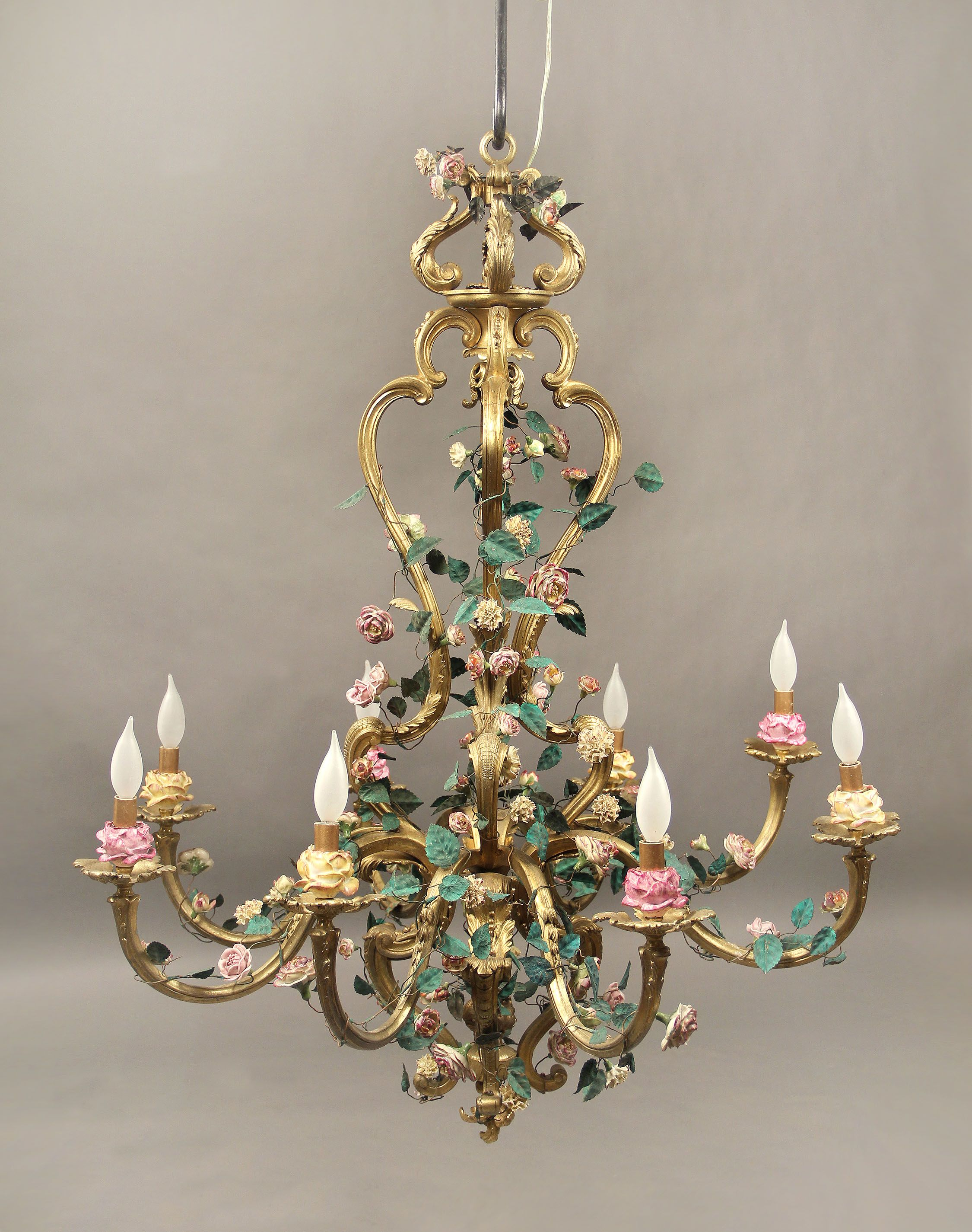 A Late 19th Century Gilt Bronze and French Porcelain Rococo