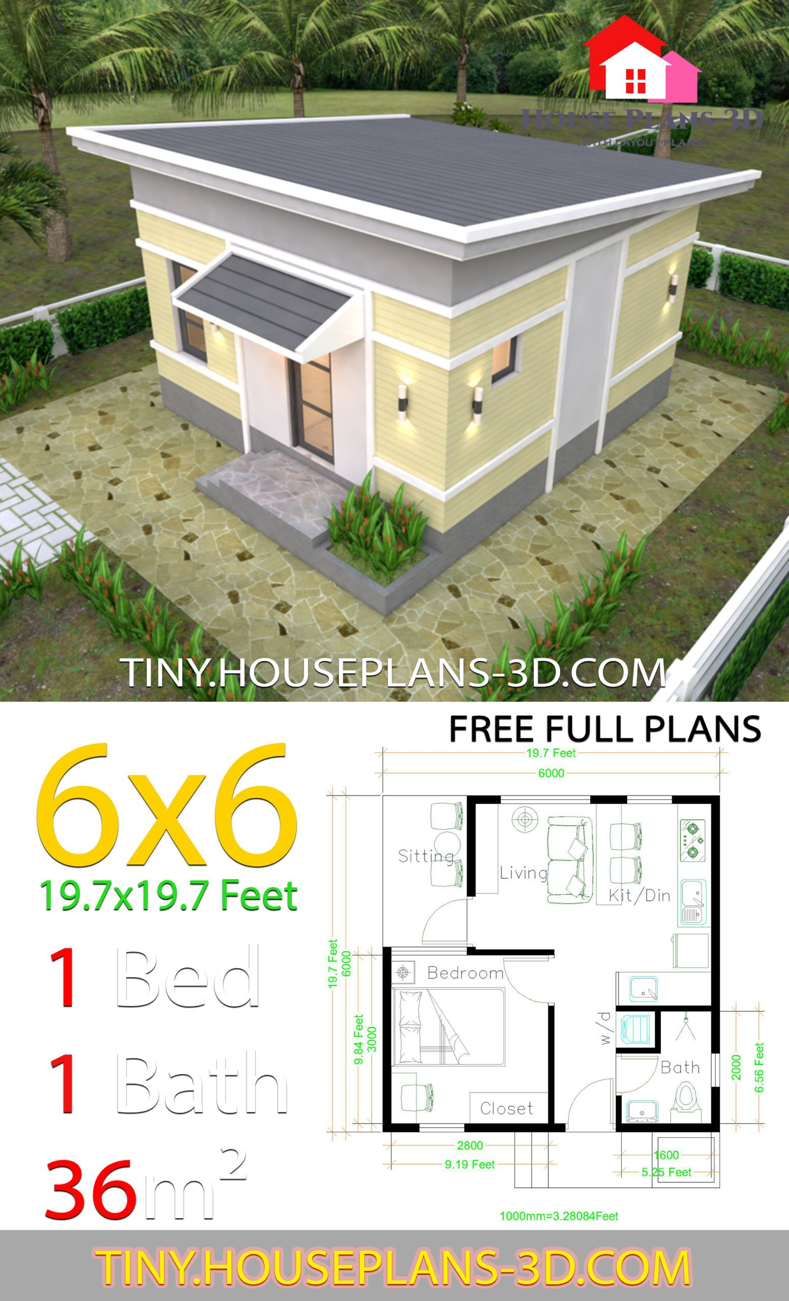One Bedroom House Plans 6x6 With Shed Roof House Plans 3d In 2020 One Bedroom House Plans House Roof House Plans