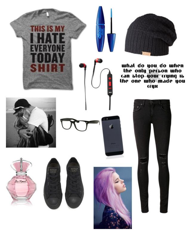 """""""Gn✌️"""" by jesuslovingirl ❤ liked on Polyvore featuring Converse, Retrò, Barts, Tzumi, Maybelline and rag & bone/JEAN"""