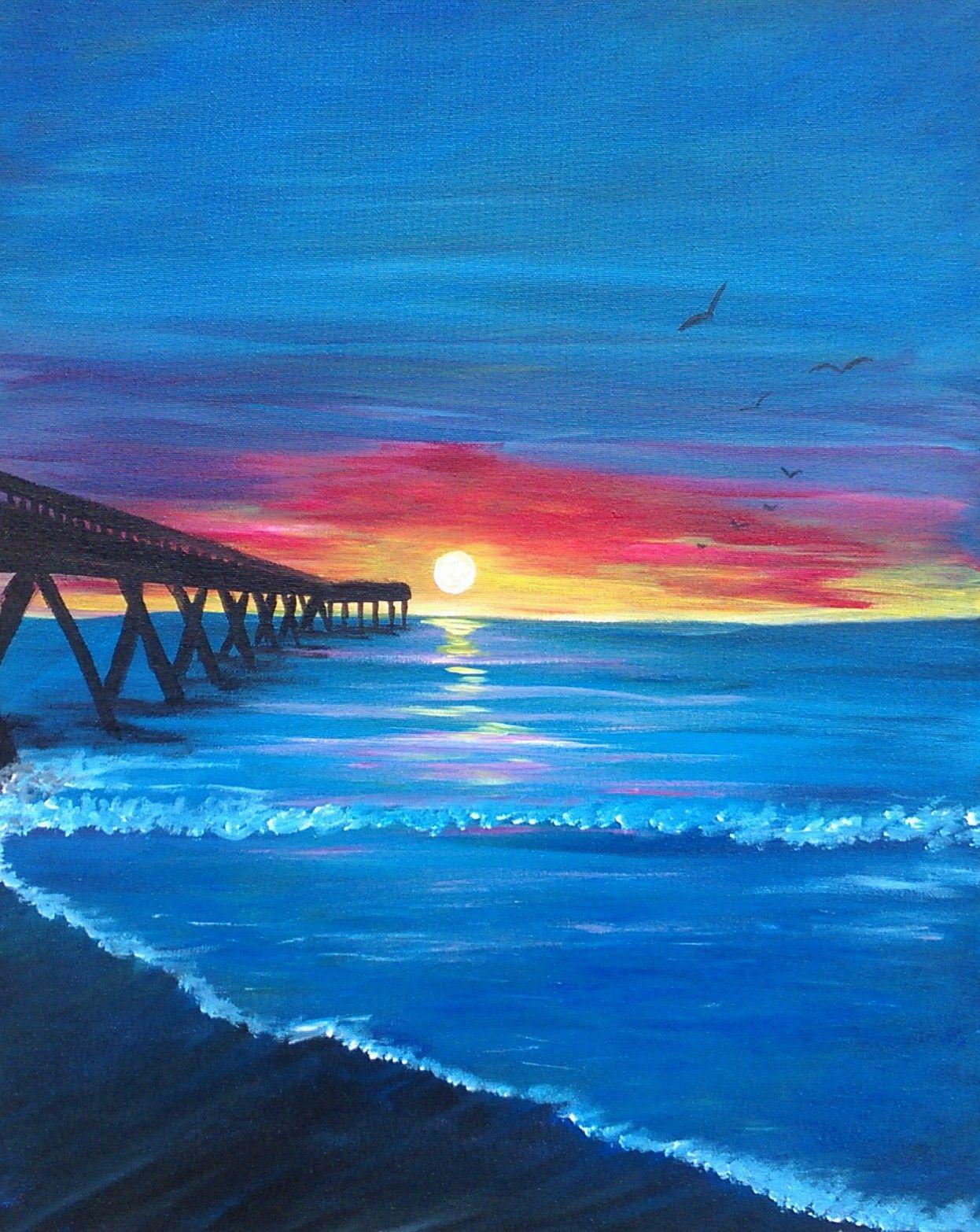 Pier At Sunset Sunset Canvas Painting Sunset Painting Cute Canvas Paintings