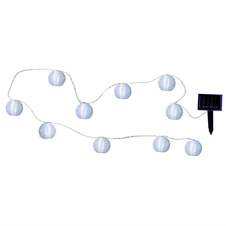 Guirlande solaire led d 39 ext rieur 10 lampions blanc l4 7m for Lampions exterieur led