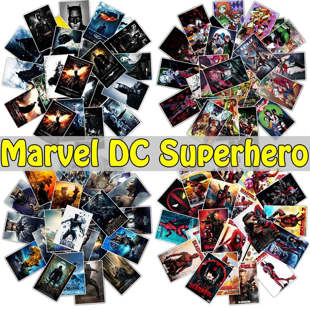 25 50pcs lot mixed classic marvel dc super hero stickers for suitcase phone laptop luggage frdige funny kids sticker 50pcs mixed classic marvel super