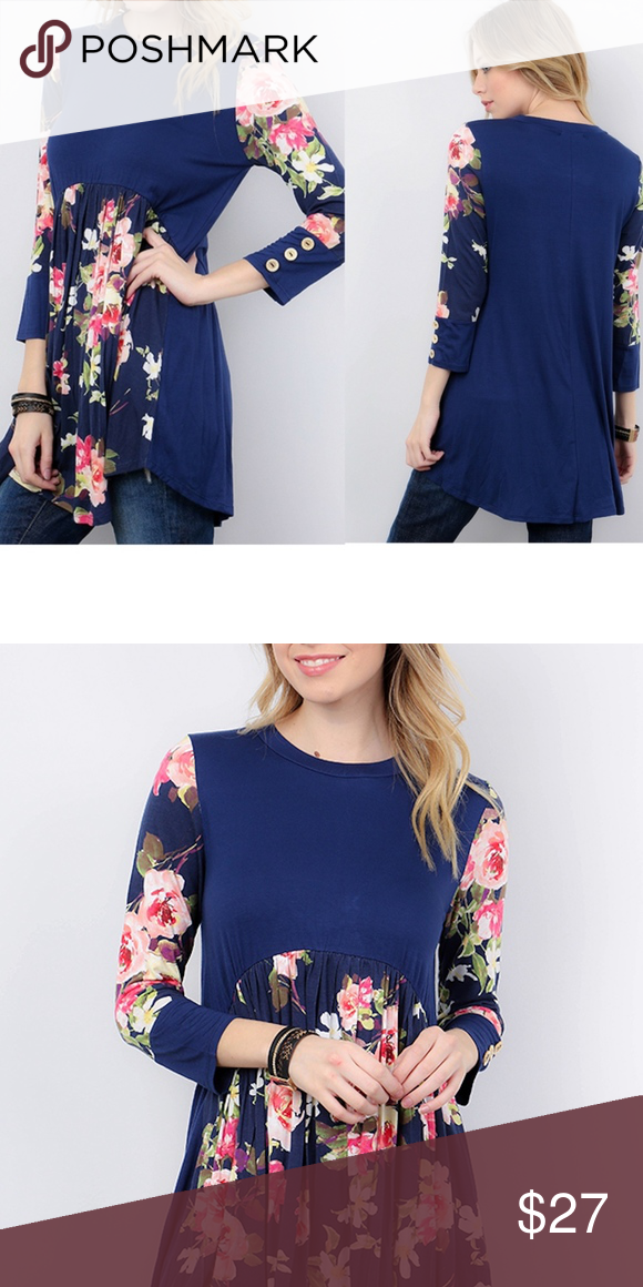 2f3751717e1 Navy Floral Print Babydoll Tunic Top Quarter sleeve with button detail