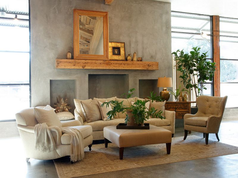 20 Concrete Fireplace Designs Highlighted In Well Designed Living Rooms Home Design Lover Minimalist Home Furniture Traditional Family Rooms Fireplace Design