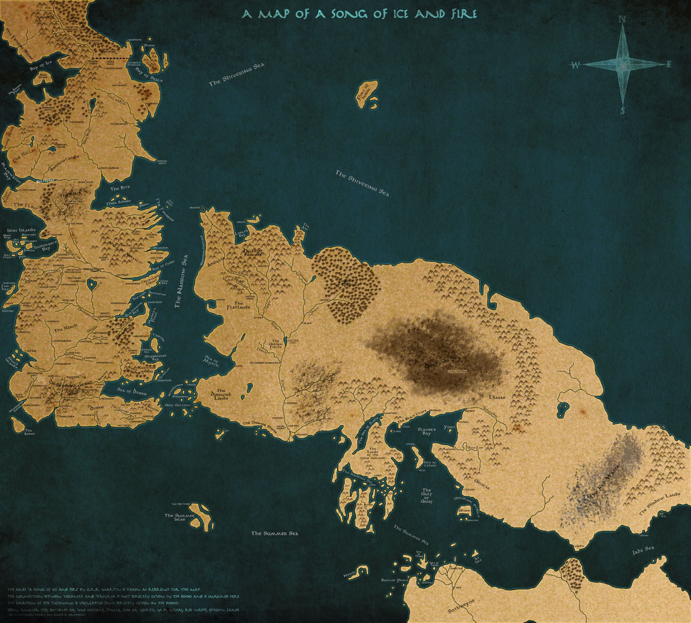 A map of a song of ice and fire version 2 by scrollsofaryavart full map for a song of fire and ice partly speculative game of thrones gumiabroncs Choice Image