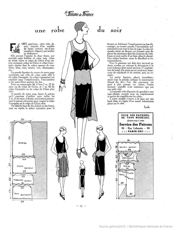 Robe du soir (La Femme de France 07/11/1926) | 20s | Pinterest | Costura