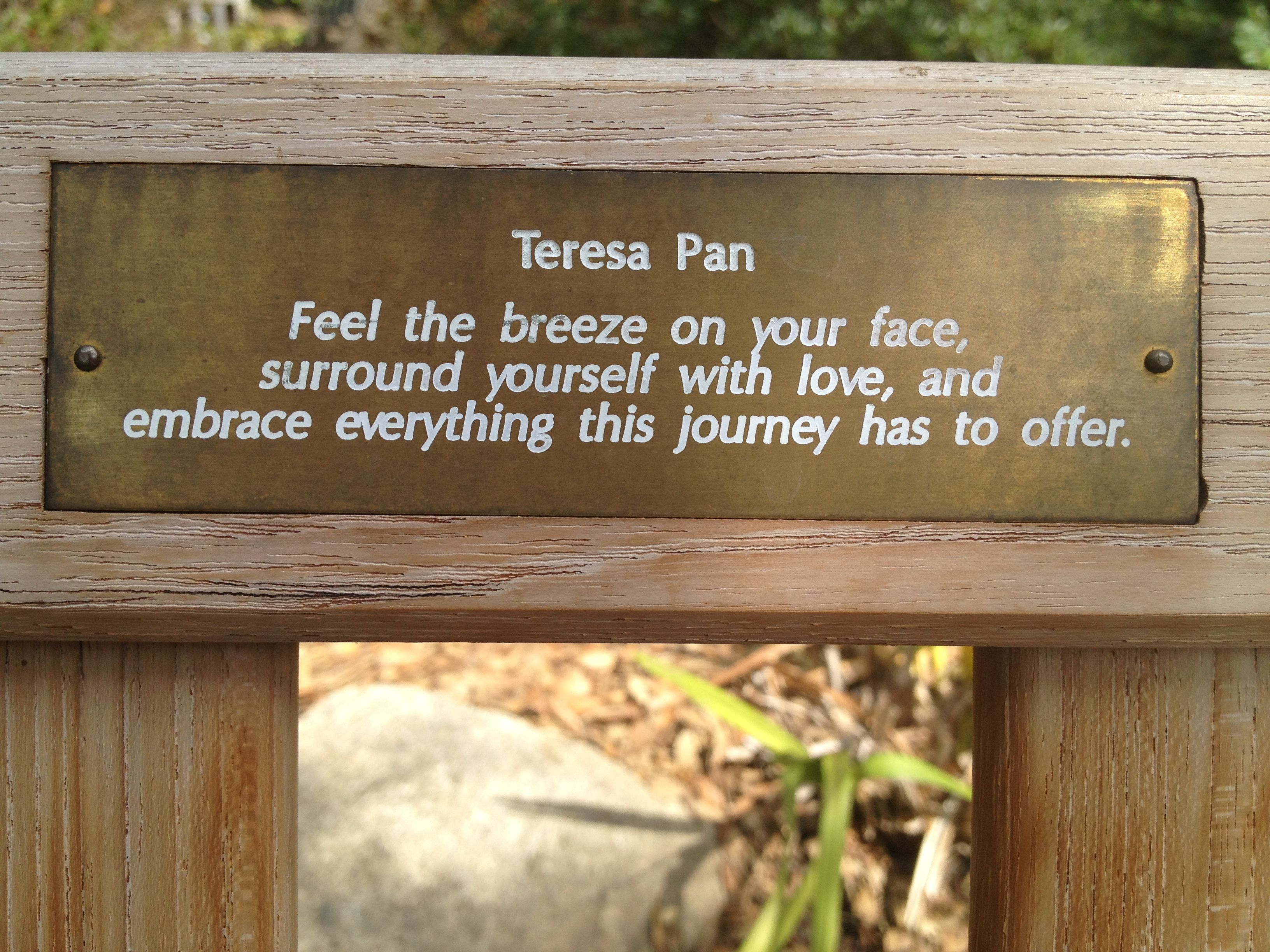 An inspirational quote from the Huntington Library Botanical Gardens ...