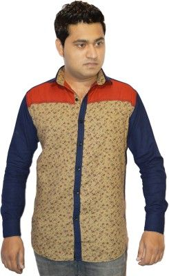 Jack Royal Blue & Beige Cotton Printed Men's Casual Shirt   #Jack Royal, #Blue, #Printed