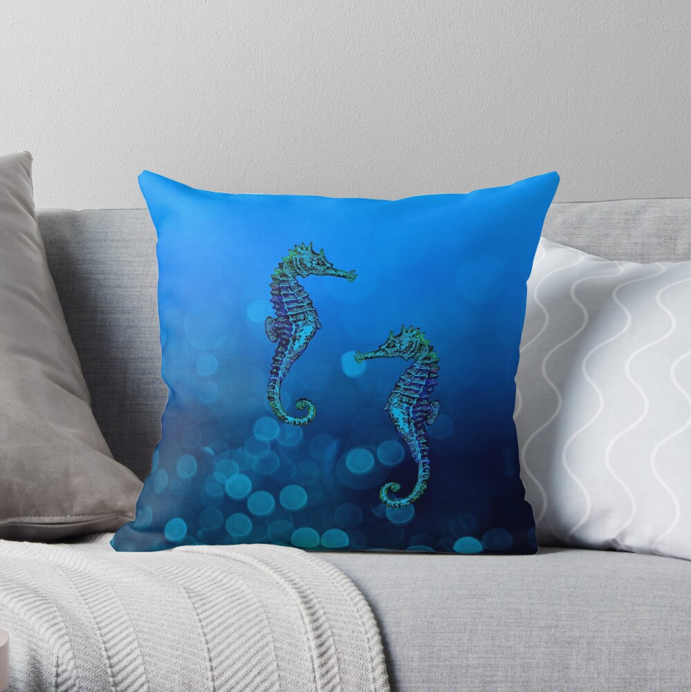 Sea Horse Couple In Deep Blue Water Throw Pillow By Artsandsoul Pillows Blue Water Throw Pillows