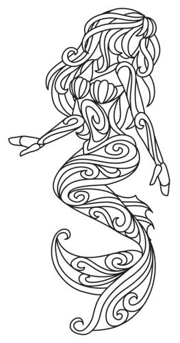 Mermaid In Swirls Coloring Pages Quilling Patterns Mermaid Coloring