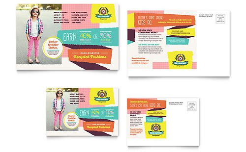 Kids Consignment Shop - Postcard Template Graphic Design - postcard templates free