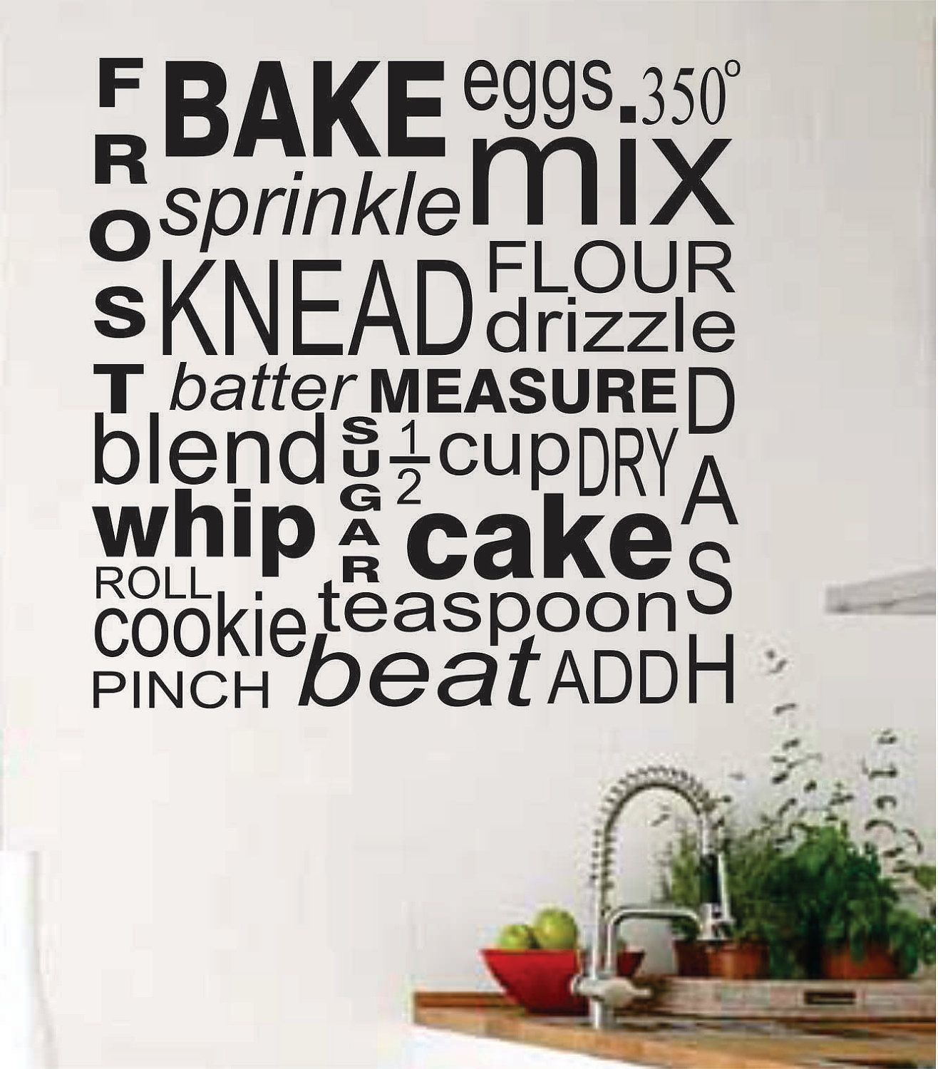 Cooking Baker Kitchen Collage Vinyl Wall Lettering Vinyl Wall
