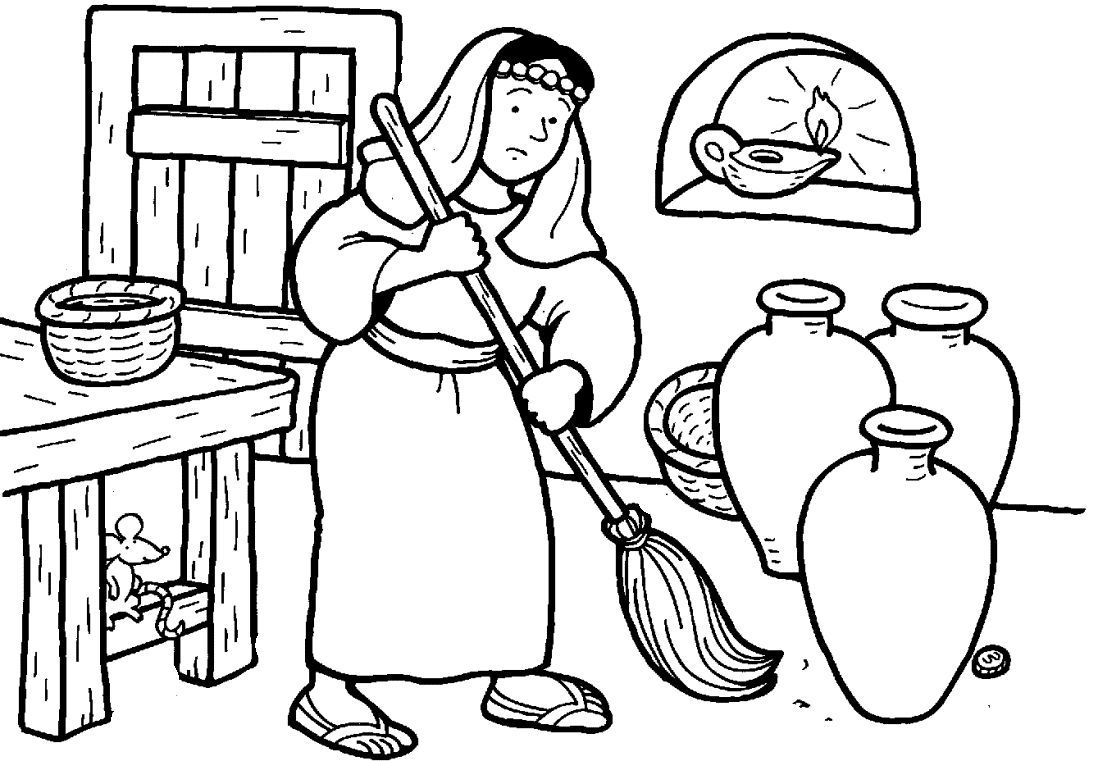 parable of the lost coin coloring page images