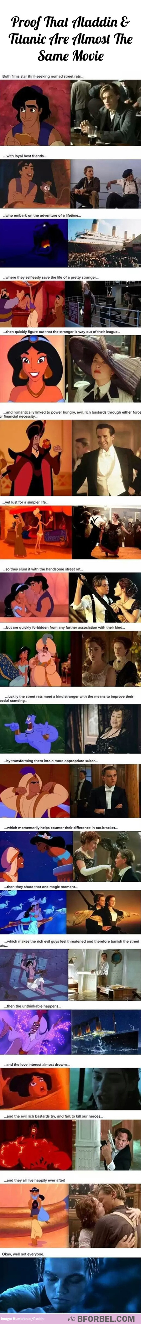 Proof that aladdin and titanic are almost the same movie i love