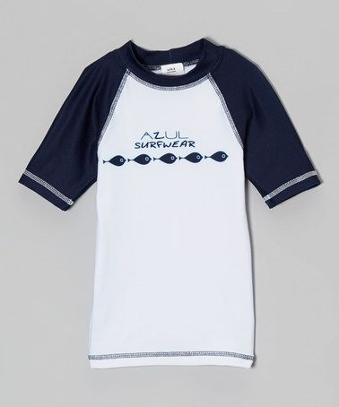 Another great find on #zulily! Navy & White Fish Rashguard - Infant, Toddler & Boys #zulilyfinds
