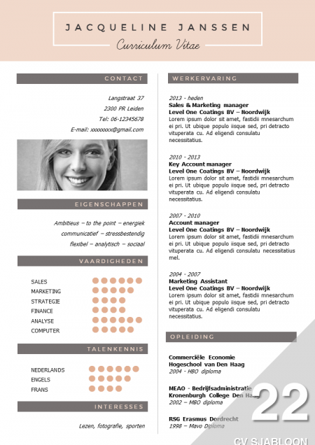 Cv Sjabloon   Cv Template Cv Ideas And Template