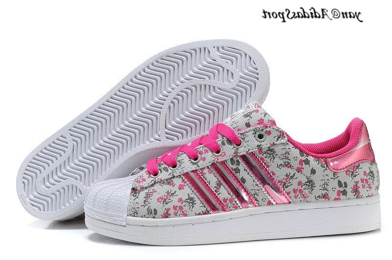 adidas superstar rose et rouge