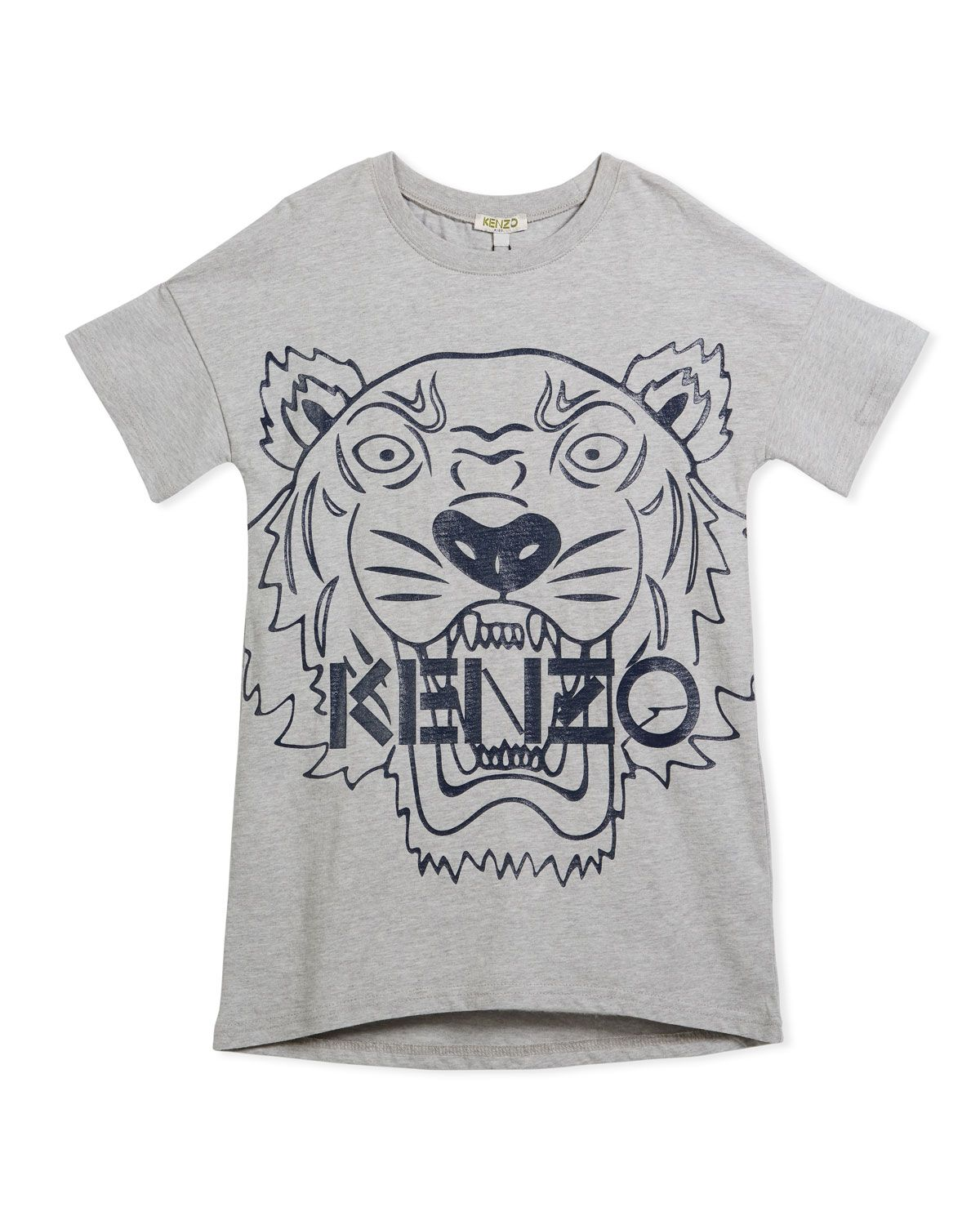 c48822517 KENZO DROP-SHOULDER DRESS W/ OVERSIZED TIGER FACE GRAPHIC, GRAY, SIZE  14-16. #kenzo #cloth #