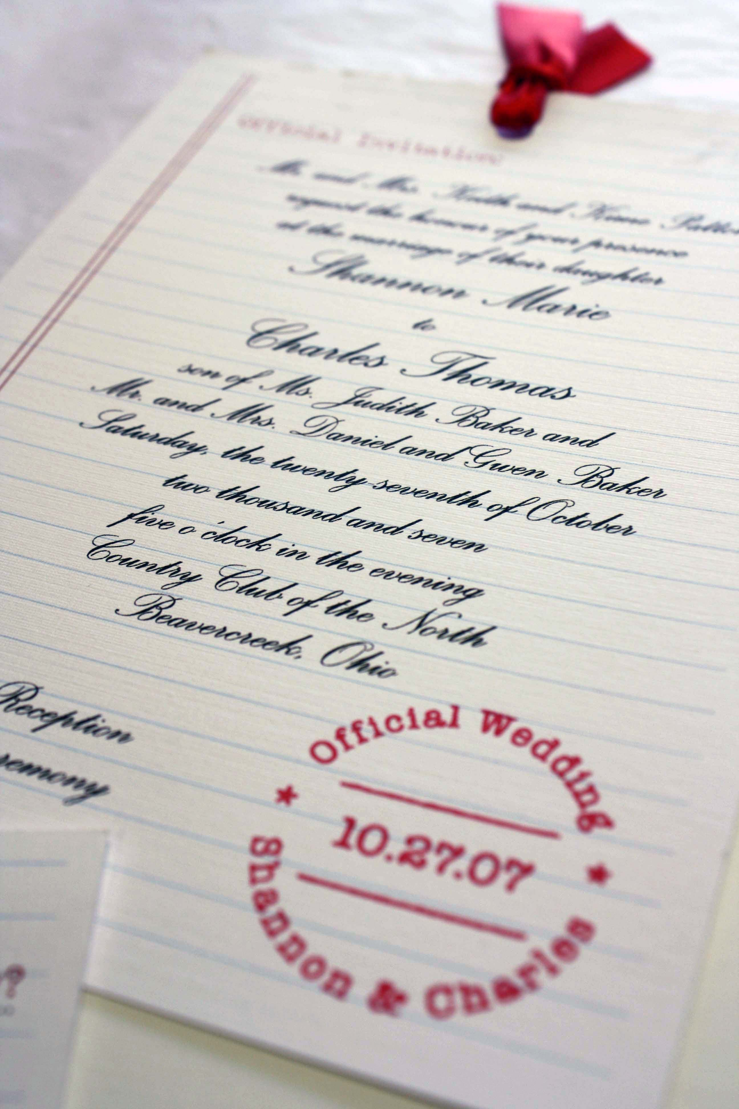 School days wedding invitation, ruled paper, red ink stamp | Custom ...