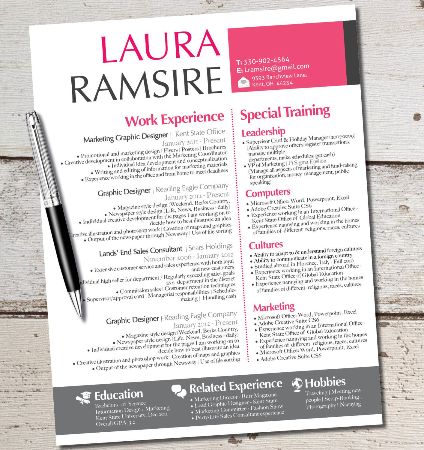 the laura jane resume modern custom design by