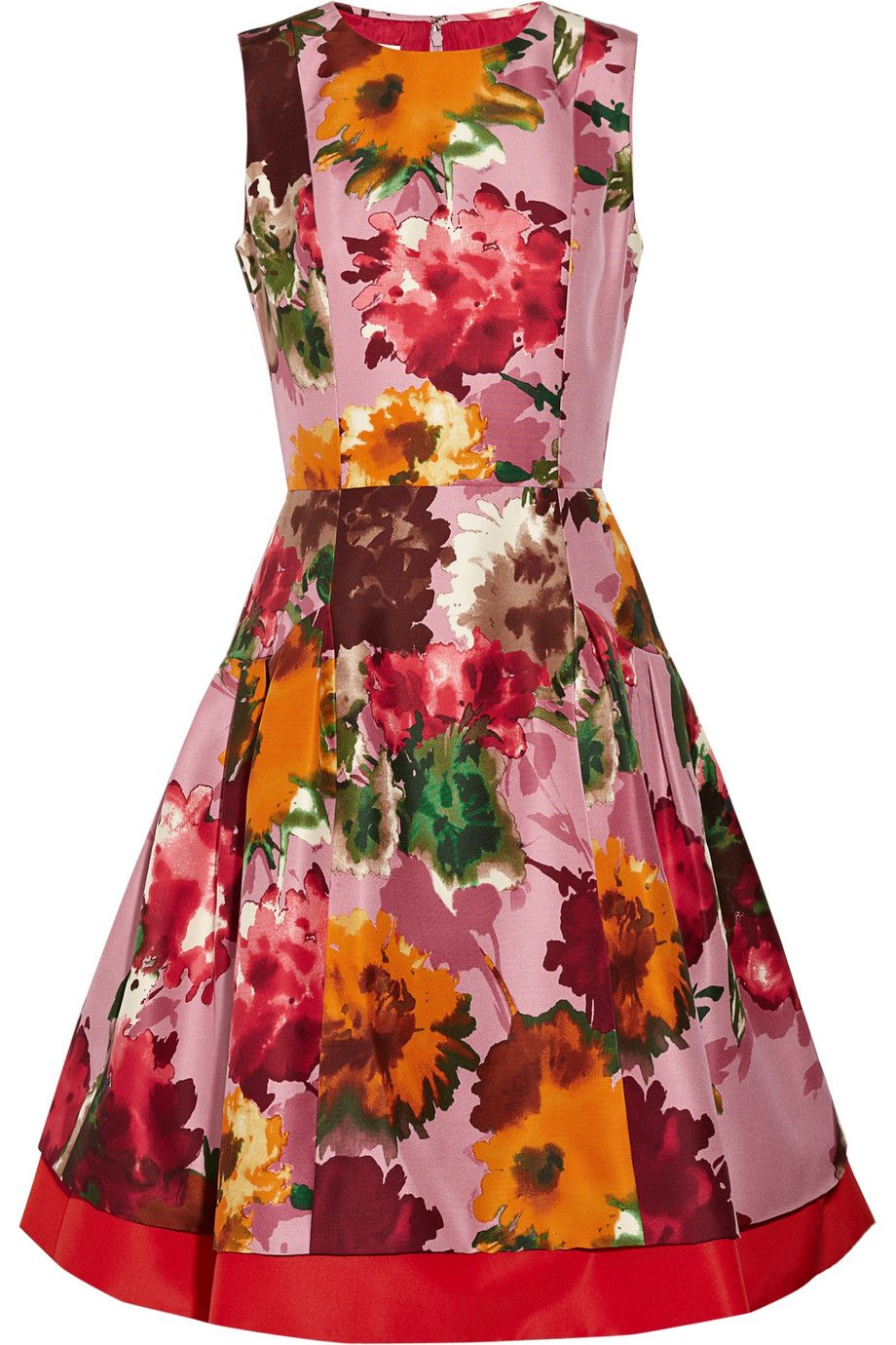 Fl Print Silk Twill Dress By Oscar De La A For The Outnet Channeling My Inner June Cleaver