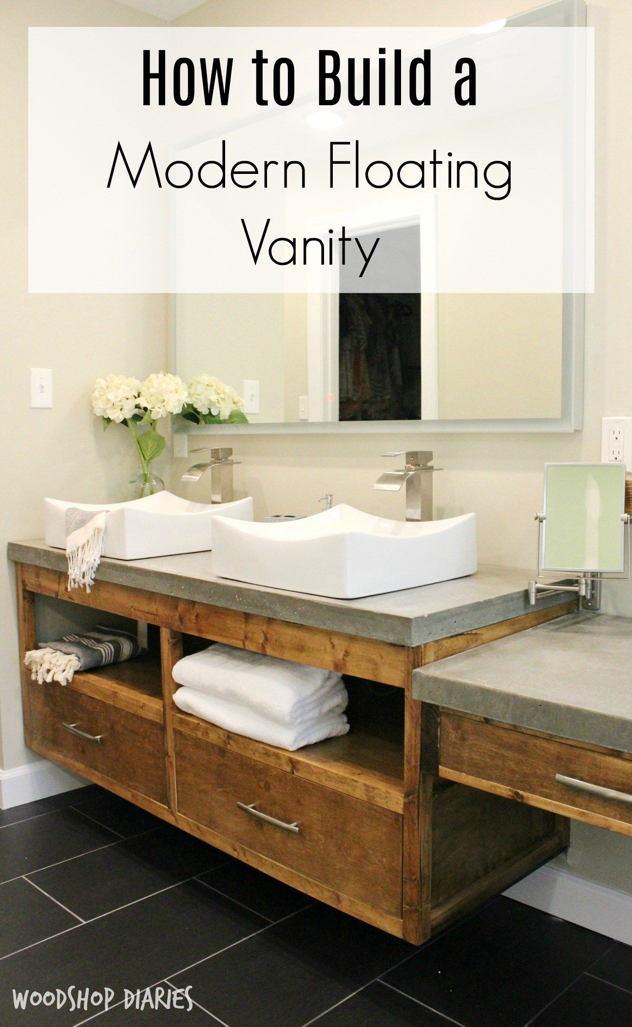 How To Build A Diy Modern Floating Vanity Or Tv Console With Images Floating Bathroom Vanities Floating Vanity Diy Bathroom Vanity