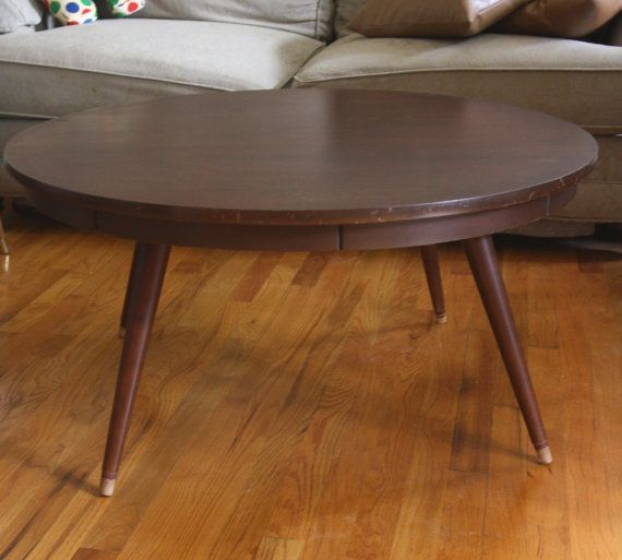 Mid Century Round Coffee Table Adjustable Height To By Gremlina