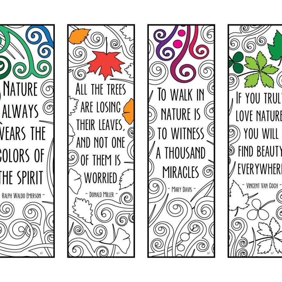 Nature quotes bookmarks pdf zentangle coloring page bookmarks